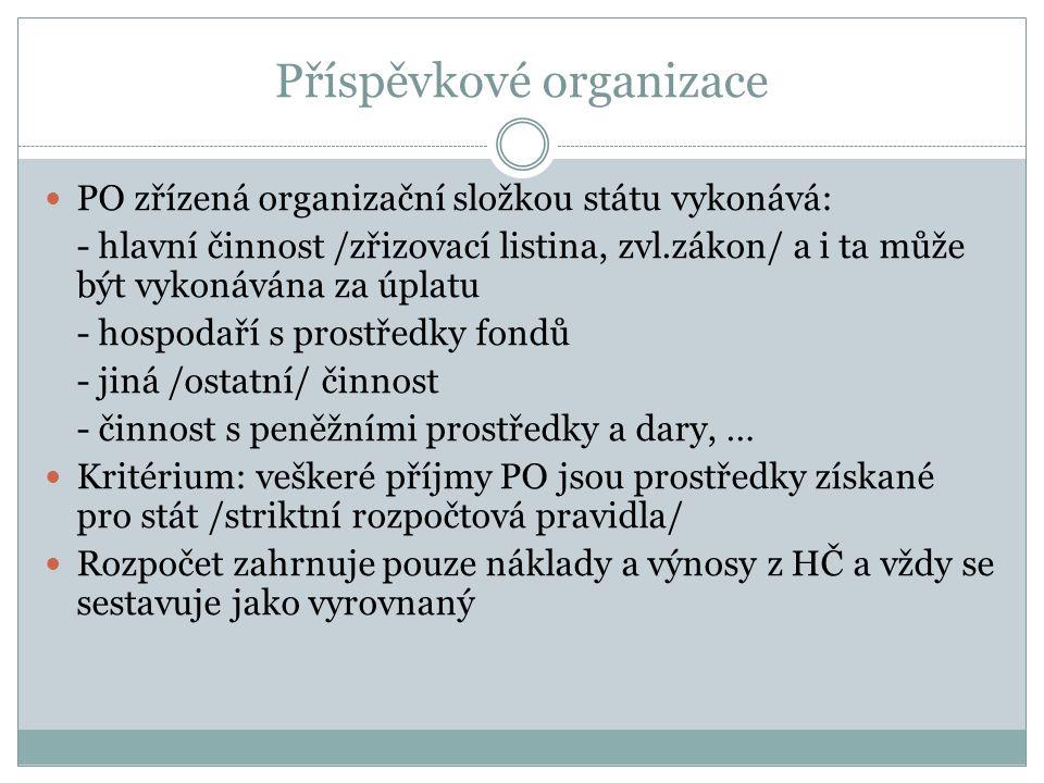 Příspěvkové organizace PO zřízená organizační složkou státu vykonává: - hlavní činnost /zřizovací listina, zvl.zákon/ a i ta může být vykonávána za úp