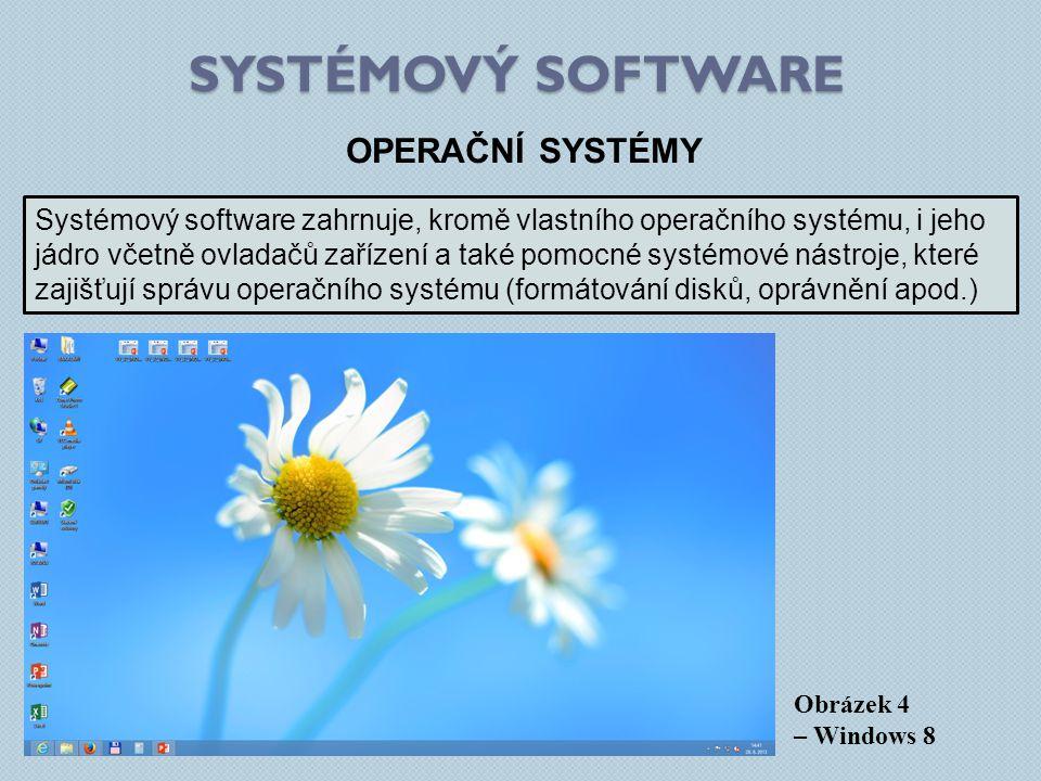 SYSTÉMOVÝ SOFTWARE Obrázek 4 – Windows 8 OPERAČNÍ SYSTÉMY Systémový software zahrnuje, kromě vlastního operačního systému, i jeho jádro včetně ovladač