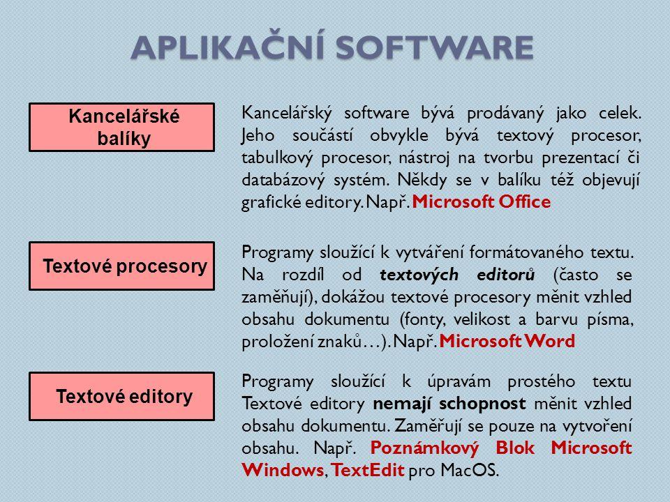 APLIKAČNÍ SOFTWARE Kancelářské balíky Kancelářský software bývá prodávaný jako celek. Jeho součástí obvykle bývá textový procesor, tabulkový procesor,
