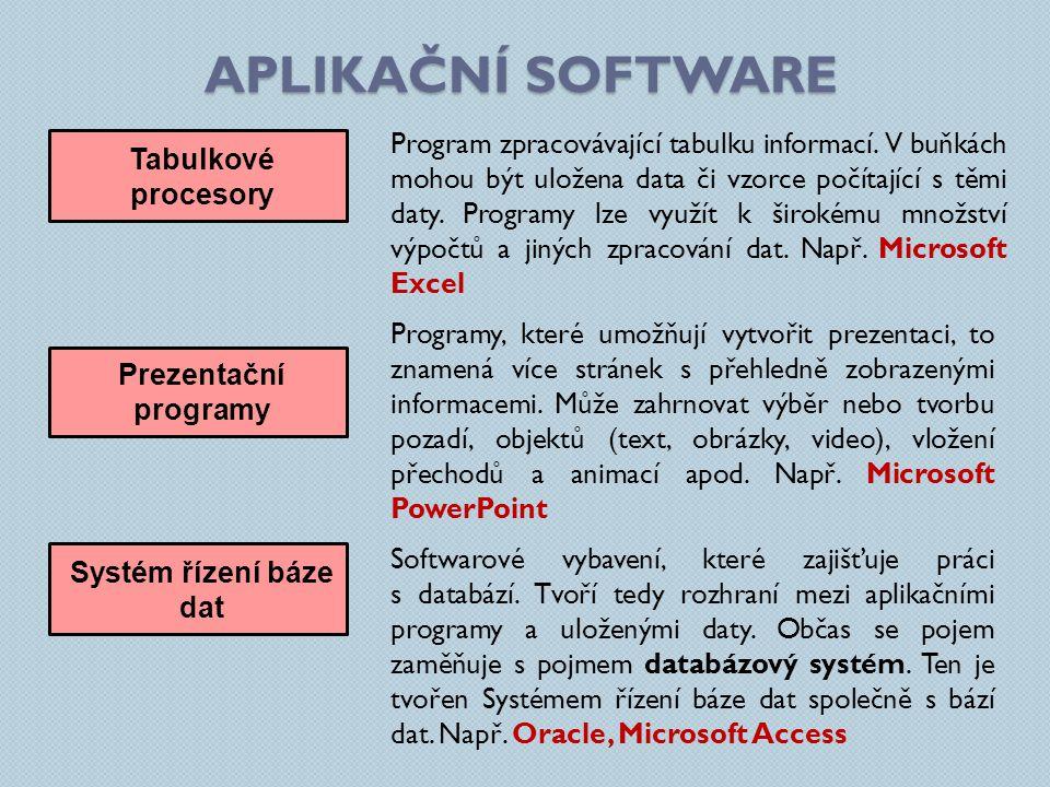 APLIKAČNÍ SOFTWARE Tabulkové procesory Program zpracovávající tabulku informací. V buňkách mohou být uložena data či vzorce počítající s těmi daty. Pr