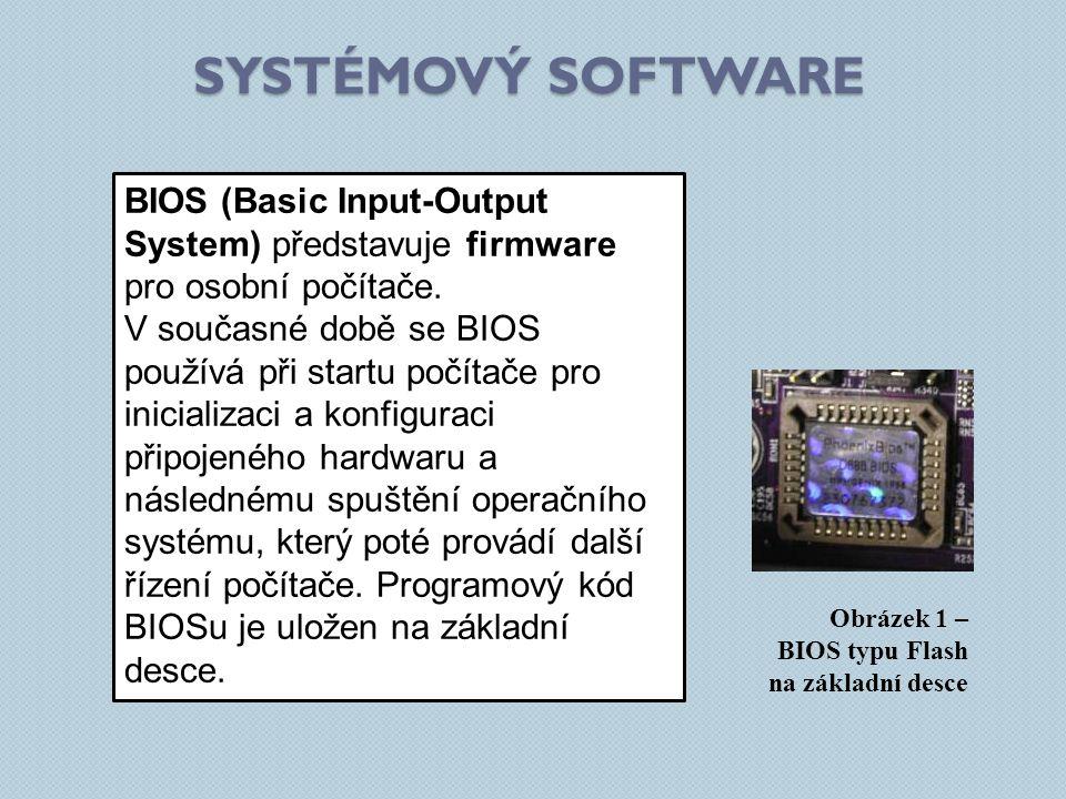 SYSTÉMOVÝ SOFTWARE Obrázek 1 – BIOS typu Flash na základní desce BIOS (Basic Input-Output System) představuje firmware pro osobní počítače. V současné
