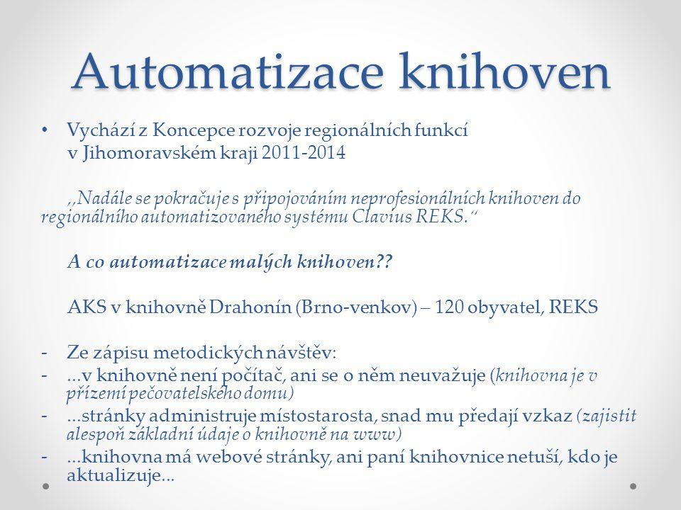 Automatizace knihoven Vychází z Koncepce rozvoje regionálních funkcí v Jihomoravském kraji 2011-2014,,Nadále se pokračuje s připojováním neprofesionálních knihoven do regionálního automatizovaného systému Clavius REKS. A co automatizace malých knihoven .