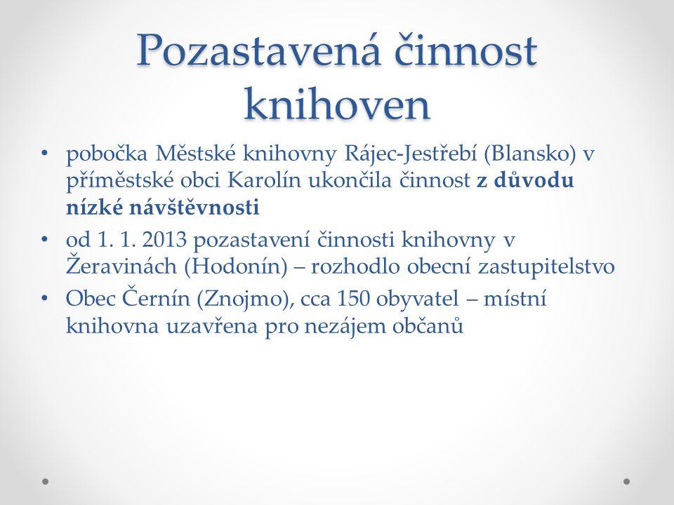 Pozastavená činnost knihoven pobočka Městské knihovny Rájec-Jestřebí (Blansko) v příměstské obci Karolín ukončila činnost z důvodu nízké návštěvnosti od 1.
