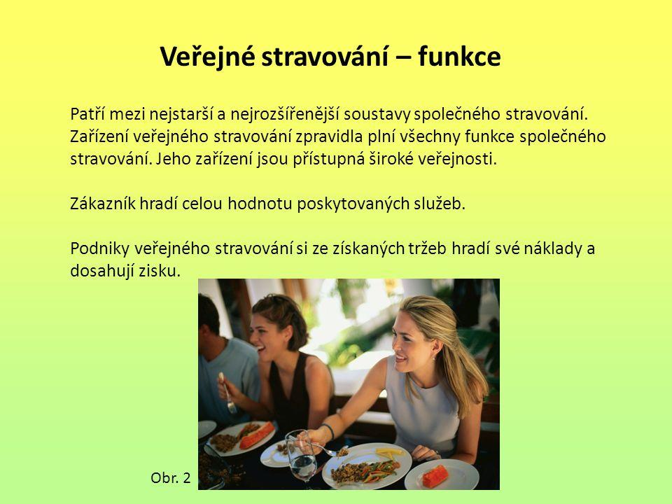 Veřejné stravování – funkce Patří mezi nejstarší a nejrozšířenější soustavy společného stravování. Zařízení veřejného stravování zpravidla plní všechn