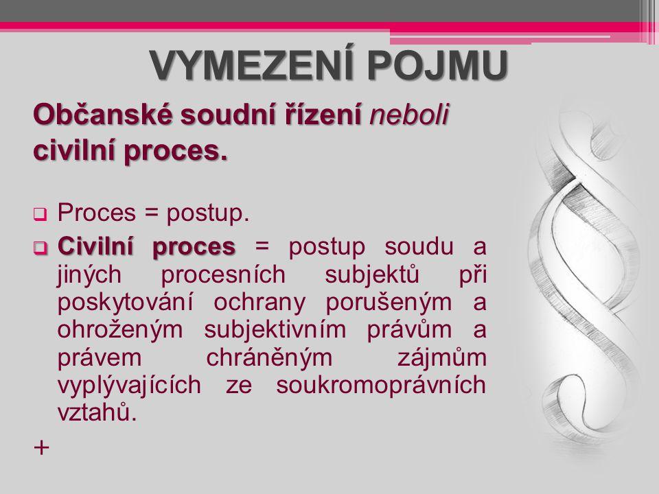 VYMEZENÍ POJMU  Proces = postup.  Civilní proces  Civilní proces = postup soudu a jiných procesních subjektů při poskytování ochrany porušeným a oh