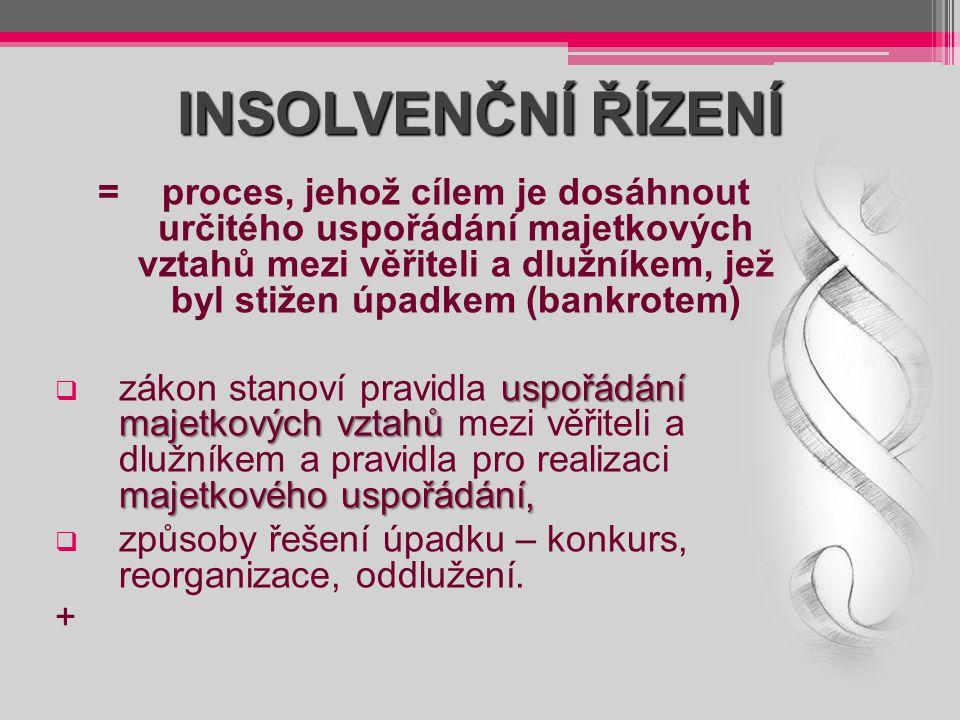 INSOLVENČNÍ ŘÍZENÍ =proces, jehož cílem je dosáhnout určitého uspořádání majetkových vztahů mezi věřiteli a dlužníkem, jež byl stižen úpadkem (bankrot