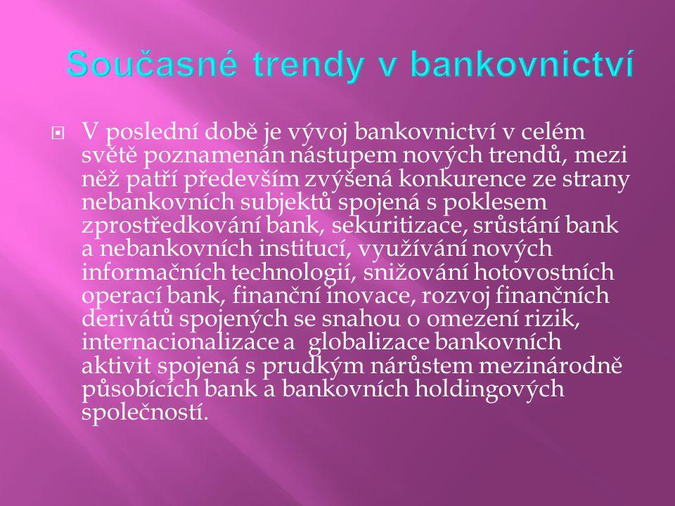  V poslední době je vývoj bankovnictví v celém světě poznamenán nástupem nových trendů, mezi něž patří především zvýšená konkurence ze strany nebanko