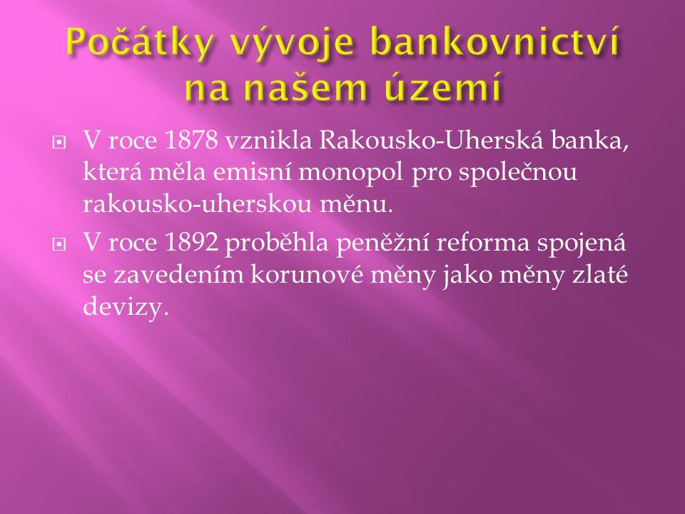  V roce 1878 vznikla Rakousko-Uherská banka, která měla emisní monopol pro společnou rakousko-uherskou měnu.  V roce 1892 proběhla peněžní reforma s