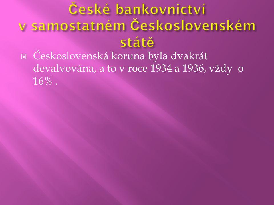  Československá koruna byla dvakrát devalvována, a to v roce 1934 a 1936, vždy o 16%.