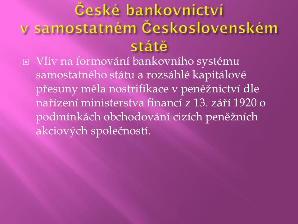  Vliv na formování bankovního systému samostatného státu a rozsáhlé kapitálové přesuny měla nostrifikace v peněžnictví dle nařízení ministerstva fina