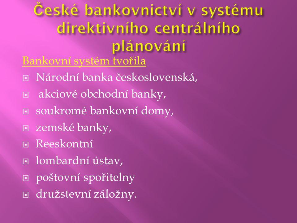 Bankovní systém tvořila  Národní banka československá,  akciové obchodní banky,  soukromé bankovní domy,  zemské banky,  Reeskontní  lombardní ú