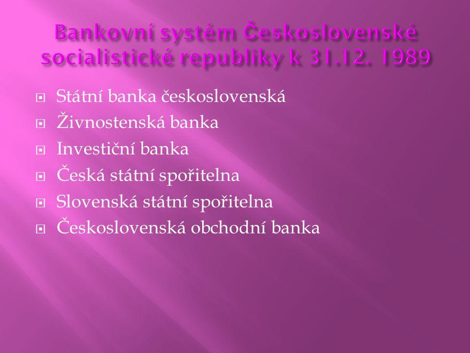  Státní banka československá  Živnostenská banka  Investiční banka  Česká státní spořitelna  Slovenská státní spořitelna  Československá obchodn