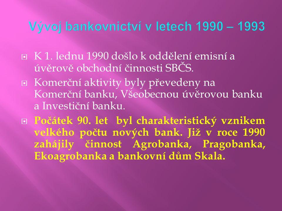  K 1. lednu 1990 došlo k oddělení emisní a úvěrově obchodní činnosti SBČS.  Komerční aktivity byly převedeny na Komerční banku, Všeobecnou úvěrovou