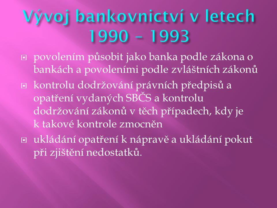  povolením působit jako banka podle zákona o bankách a povoleními podle zvláštních zákonů  kontrolu dodržování právních předpisů a opatření vydaných