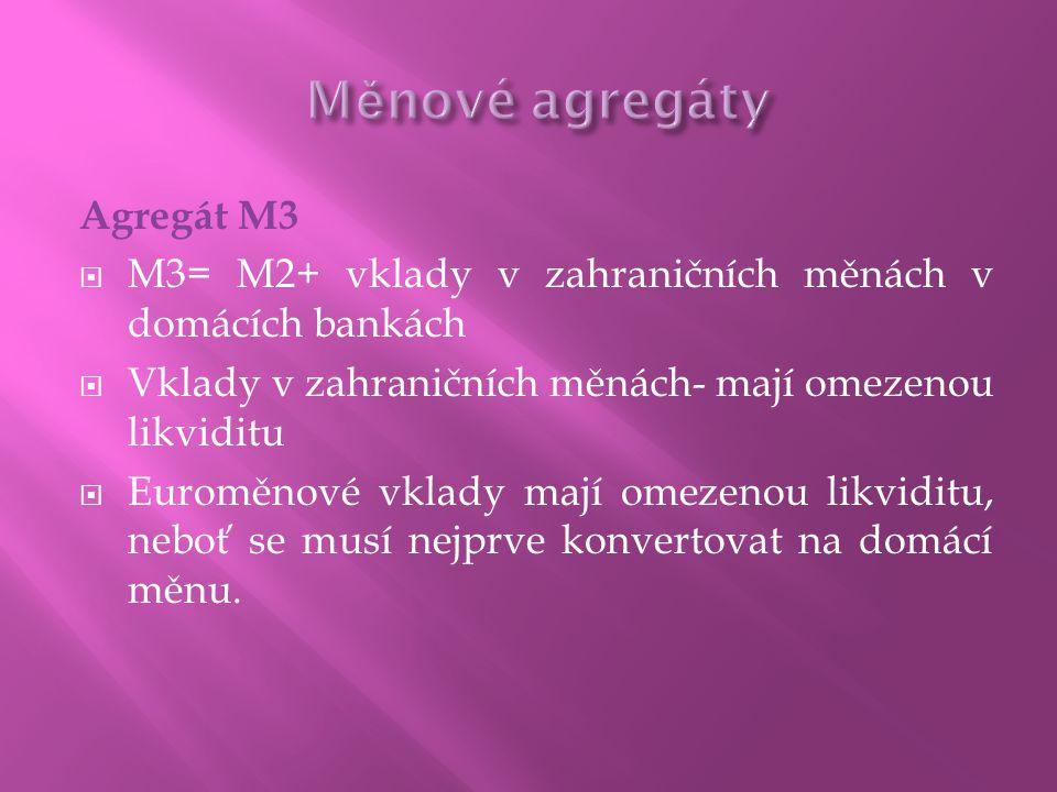 Agregát M3  M3= M2+ vklady v zahraničních měnách v domácích bankách  Vklady v zahraničních měnách- mají omezenou likviditu  Euroměnové vklady mají