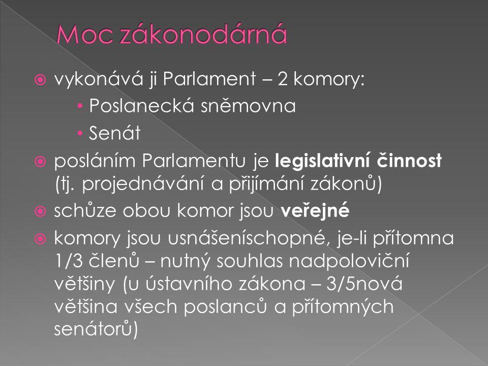  vykonává ji Parlament – 2 komory: Poslanecká sněmovna Senát  posláním Parlamentu je legislativní činnost (tj.