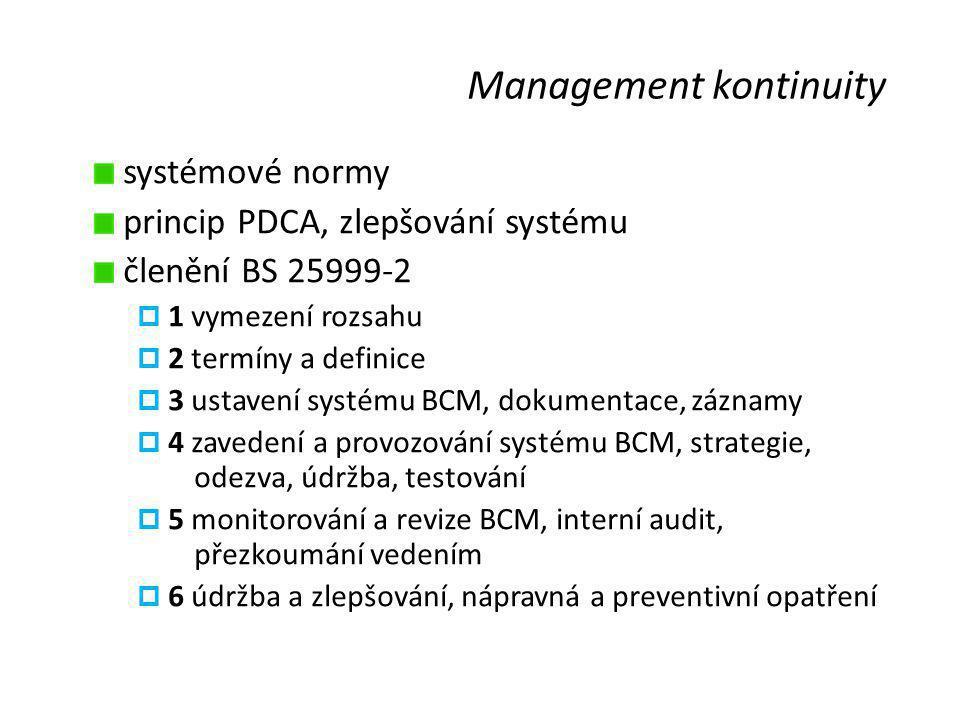 Management kontinuity systémové normy princip PDCA, zlepšování systému členění BS 25999-2  1 vymezení rozsahu  2 termíny a definice  3 ustavení systému BCM, dokumentace, záznamy  4 zavedení a provozování systému BCM, strategie, odezva, údržba, testování  5 monitorování a revize BCM, interní audit, přezkoumání vedením  6 údržba a zlepšování, nápravná a preventivní opatření