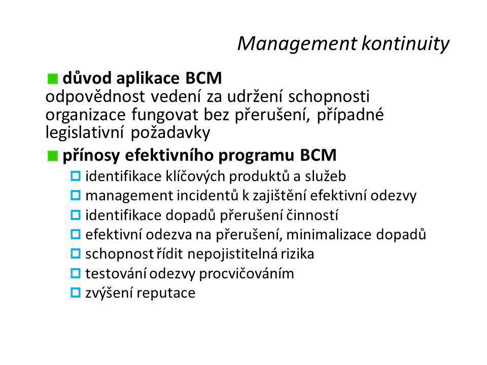Management kontinuity důvod aplikace BCM odpovědnost vedení za udržení schopnosti organizace fungovat bez přerušení, případné legislativní požadavky p