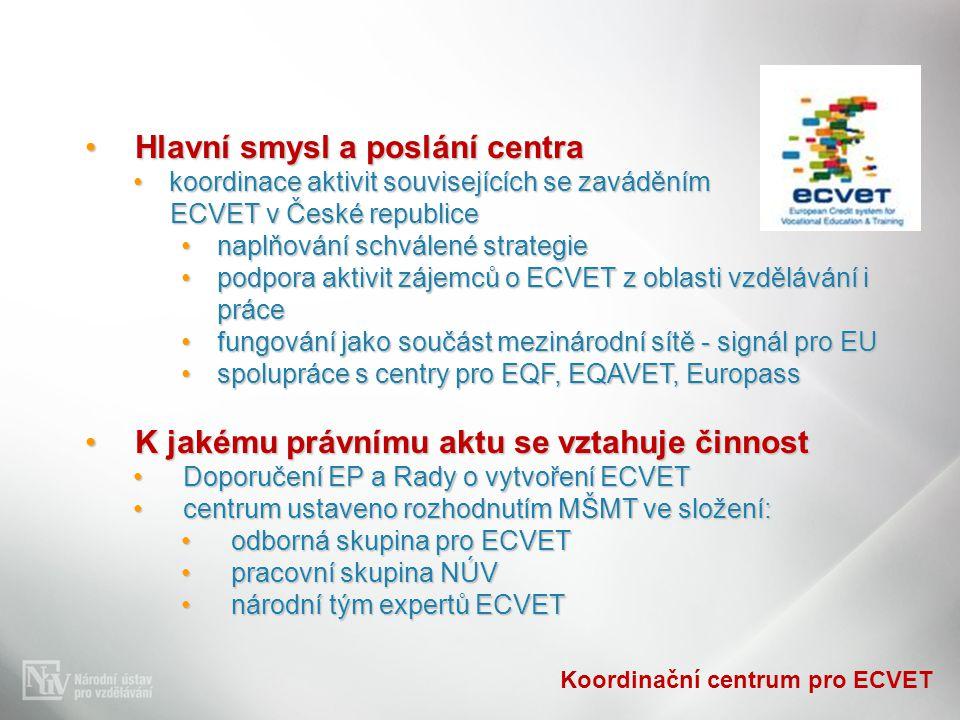 Koordinační centrum pro ECVET Hlavní smysl a poslání centraHlavní smysl a poslání centra koordinace aktivit souvisejících se zaváděnímkoordinace aktiv
