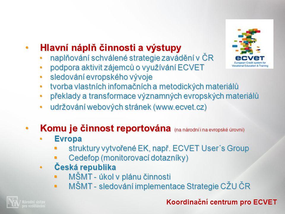 Koordinační centrum pro ECVET Hlavní náplň činnosti a výstupyHlavní náplň činnosti a výstupy naplňování schválené strategie zavádění v ČRnaplňování schválené strategie zavádění v ČR podpora aktivit zájemců o využívání ECVETpodpora aktivit zájemců o využívání ECVET sledování evropského vývojesledování evropského vývoje tvorba vlastních infomačních a metodických materiálůtvorba vlastních infomačních a metodických materiálů překlady a transformace významných evropských materiálůpřeklady a transformace významných evropských materiálů udržování webových stránek (www.ecvet.cz)udržování webových stránek (www.ecvet.cz) Komu je činnost reportována (na národní i na evropské úrovni)Komu je činnost reportována (na národní i na evropské úrovni) EvropaEvropa  struktury vytvořené EK, např.