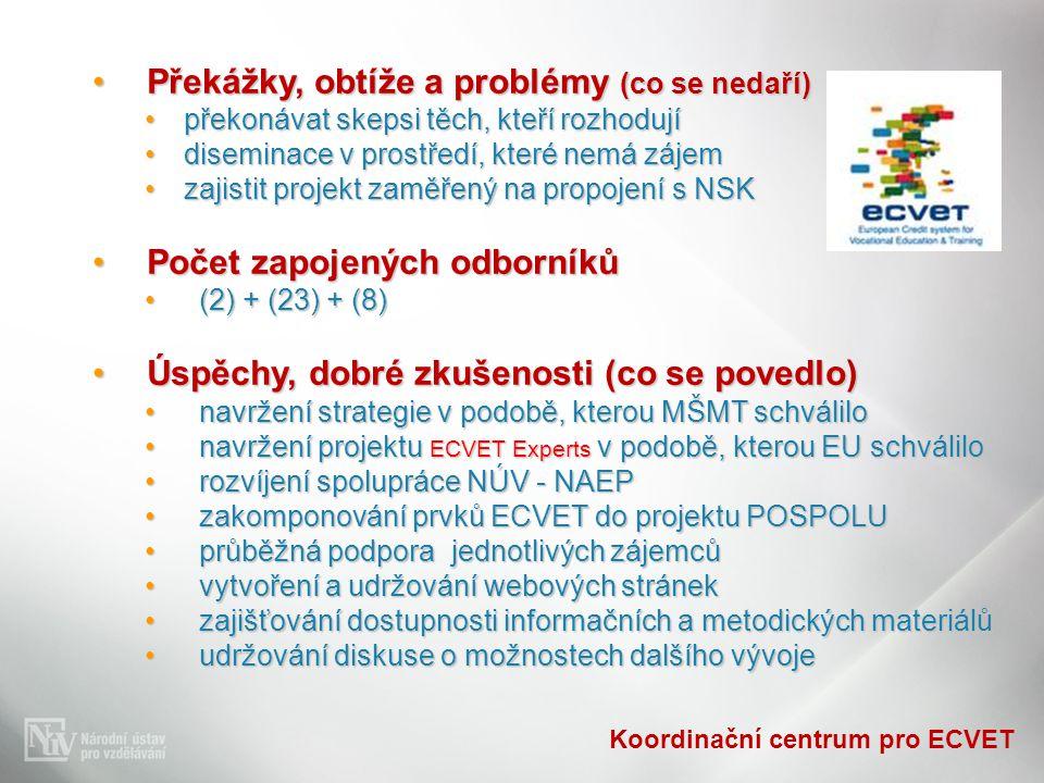 Koordinační centrum pro ECVET Překážky, obtíže a problémy (co se nedaří)Překážky, obtíže a problémy (co se nedaří) překonávat skepsi těch, kteří rozho