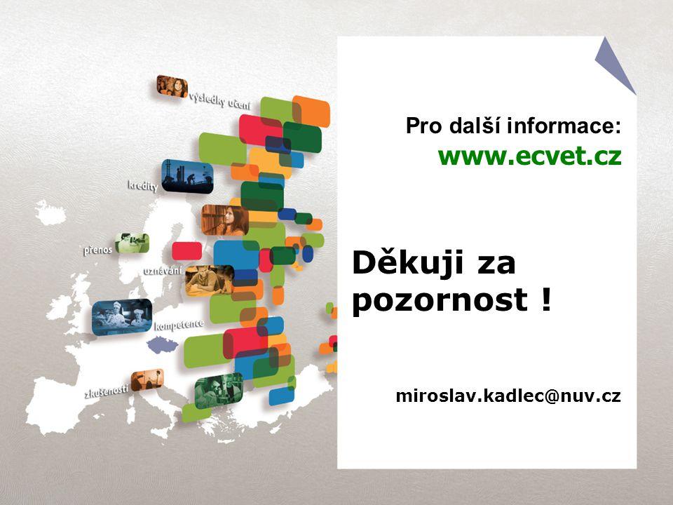 Pro další informace: www.ecvet.cz Děkuji za pozornost ! miroslav.kadlec@nuv.cz