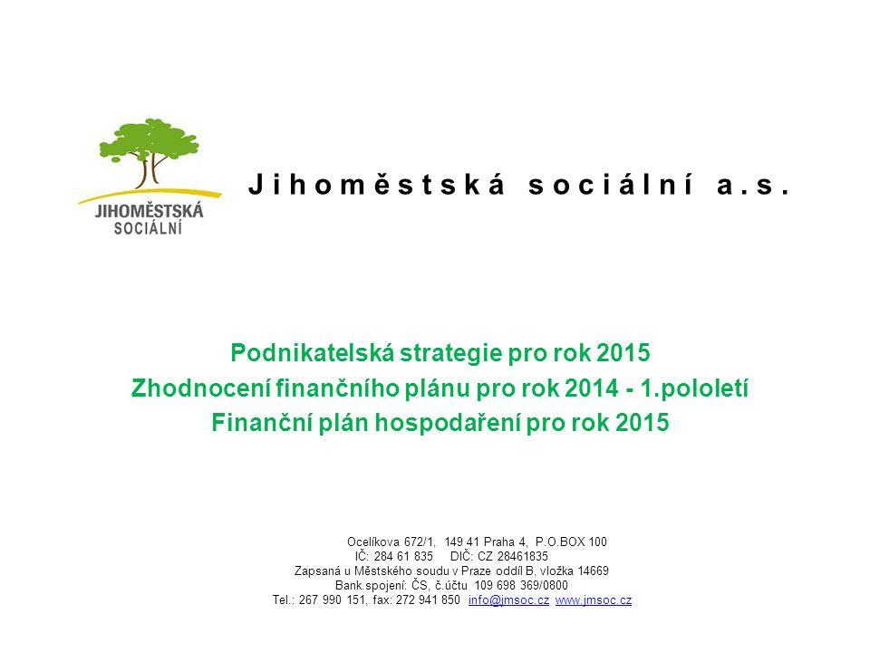 J i h o m ě s t s k á s o c i á l n í a. s. Podnikatelská strategie pro rok 2015 Zhodnocení finančního plánu pro rok 2014 - 1.pololetí Finanční plán h