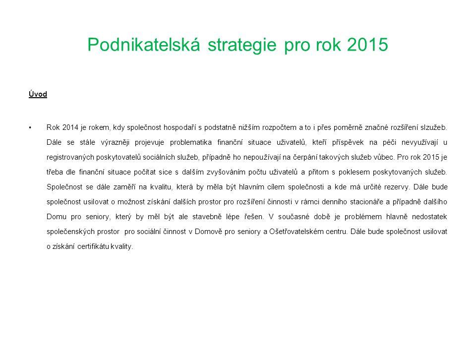 Podnikatelská strategie pro rok 2015 Cíle pro rok 2015 Zachovat široké spektrum poskytování sociálních služeb a dále ho rozšiřovat, včetně kapacit.