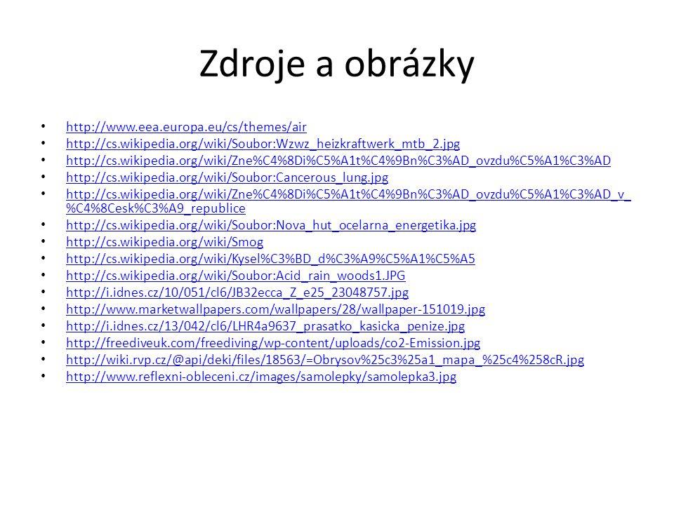 Zdroje a obrázky http://www.eea.europa.eu/cs/themes/air http://cs.wikipedia.org/wiki/Soubor:Wzwz_heizkraftwerk_mtb_2.jpg http://cs.wikipedia.org/wiki/