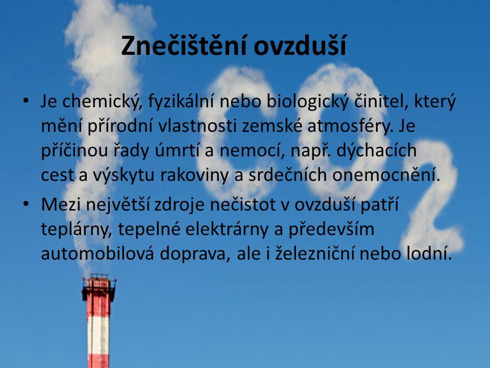 Znečištění ovzduší Je chemický, fyzikální nebo biologický činitel, který mění přírodní vlastnosti zemské atmosféry. Je příčinou řady úmrtí a nemocí, n