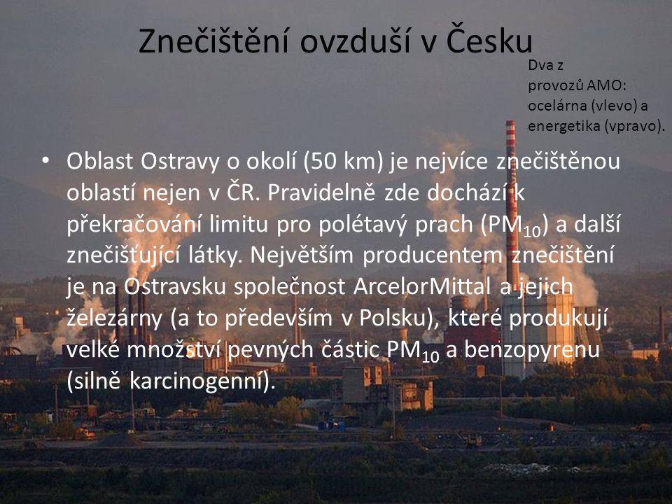 Znečištění ovzduší v Česku Oblast Ostravy o okolí (50 km) je nejvíce znečištěnou oblastí nejen v ČR. Pravidelně zde dochází k překračování limitu pro
