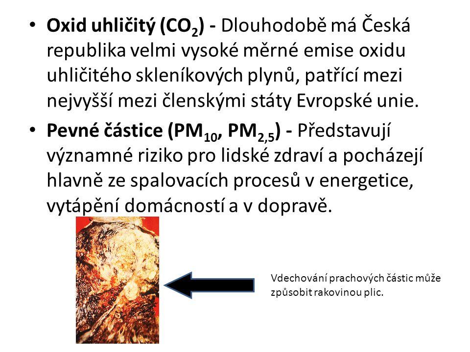 Oxid uhličitý (CO 2 ) - Dlouhodobě má Česká republika velmi vysoké měrné emise oxidu uhličitého skleníkových plynů, patřící mezi nejvyšší mezi členský