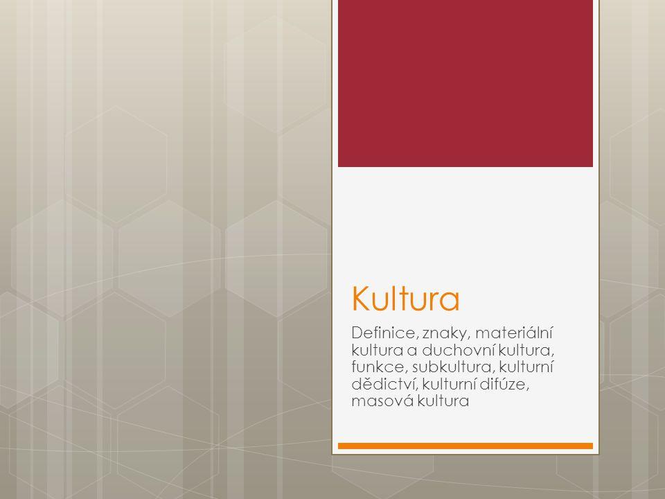 Kultura Definice, znaky, materiální kultura a duchovní kultura, funkce, subkultura, kulturní dědictví, kulturní difúze, masová kultura