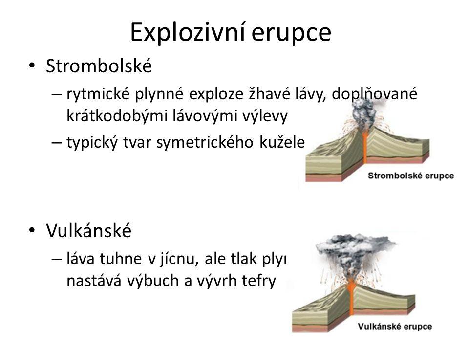 Explozivní erupce Strombolské – rytmické plynné exploze žhavé lávy, doplňované krátkodobými lávovými výlevy – typický tvar symetrického kužele Vulkáns