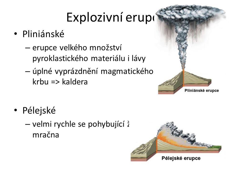 Explozivní erupce Pliniánské – erupce velkého množství pyroklastického materiálu i lávy – úplné vyprázdnění magmatického krbu => kaldera Pélejské – ve