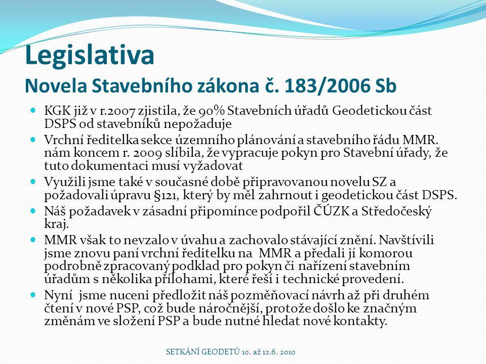 Legislativa Novela Stavebního zákona č. 183/2006 Sb KGK již v r.2007 zjistila, že 90% Stavebních úřadů Geodetickou část DSPS od stavebníků nepožaduje