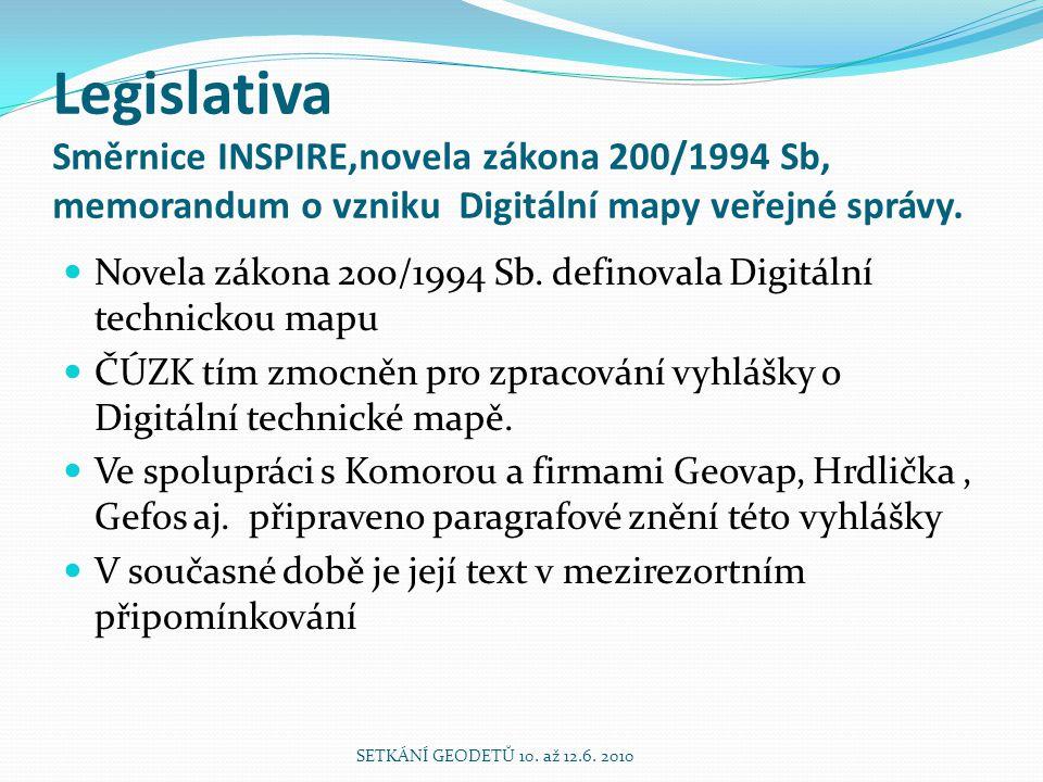 Legislativa Směrnice INSPIRE,novela zákona 200/1994 Sb, memorandum o vzniku Digitální mapy veřejné správy. Novela zákona 200/1994 Sb. definovala Digit