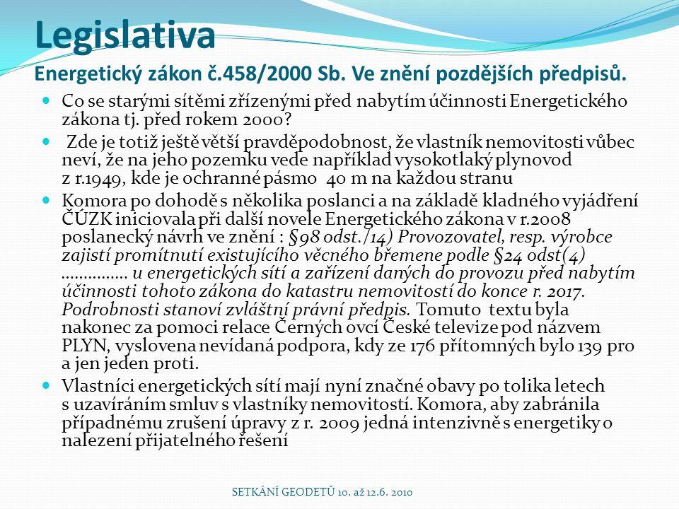Legislativa Energetický zákon č.458/2000 Sb. Ve znění pozdějších předpisů. Co se starými sítěmi zřízenými před nabytím účinnosti Energetického zákona