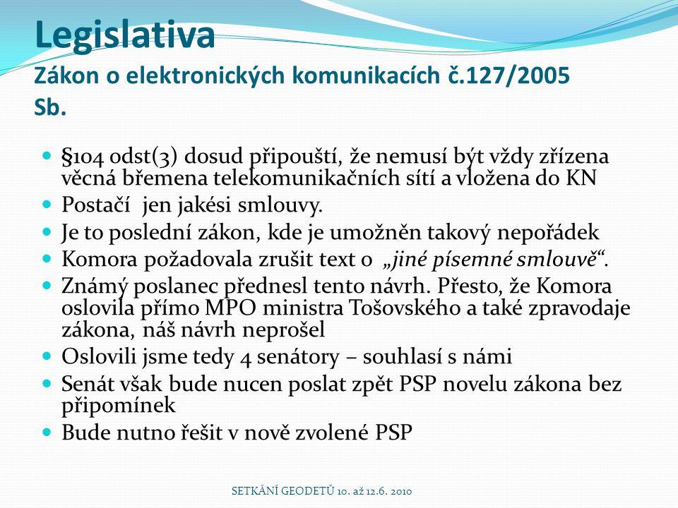 Legislativa Zákon o elektronických komunikacích č.127/2005 Sb. §104 odst(3) dosud připouští, že nemusí být vždy zřízena věcná břemena telekomunikačníc