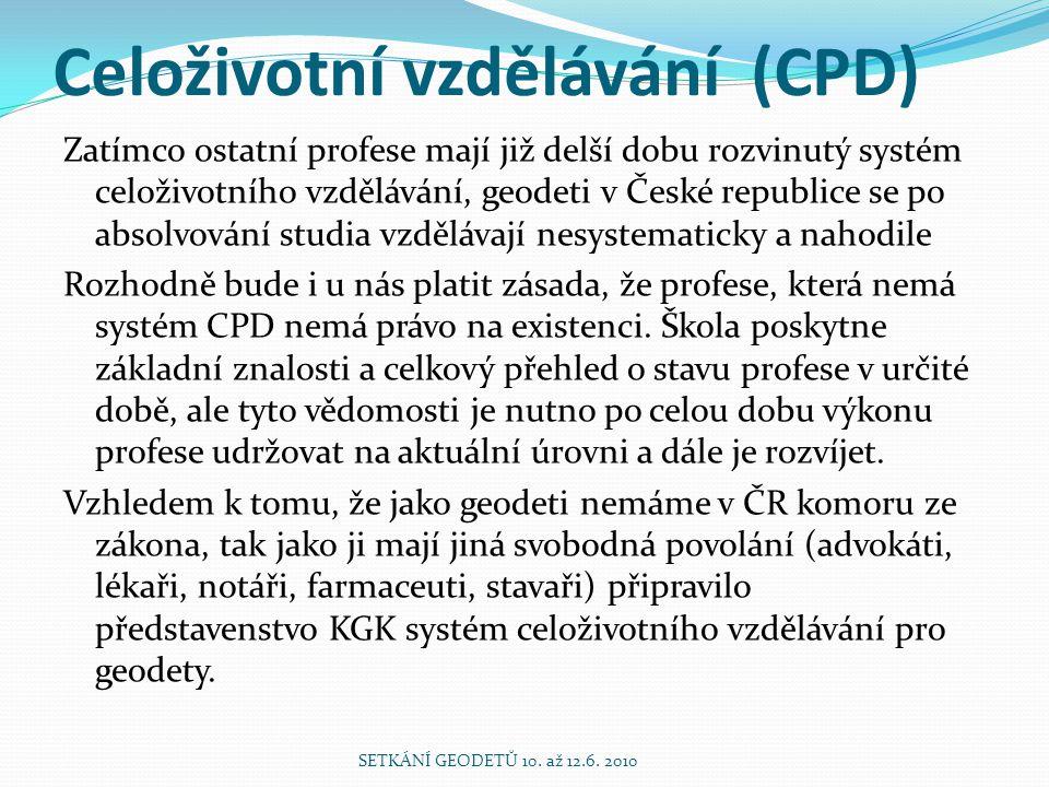 Celoživotní vzdělávání (CPD) Zatímco ostatní profese mají již delší dobu rozvinutý systém celoživotního vzdělávání, geodeti v České republice se po ab