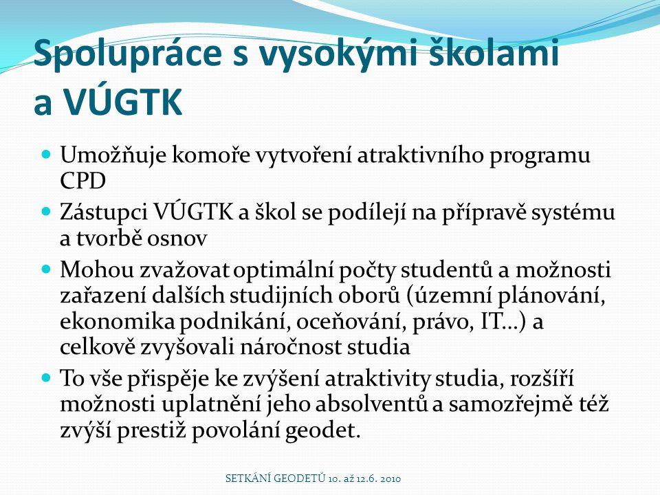 Spolupráce s vysokými školami a VÚGTK Umožňuje komoře vytvoření atraktivního programu CPD Zástupci VÚGTK a škol se podílejí na přípravě systému a tvor