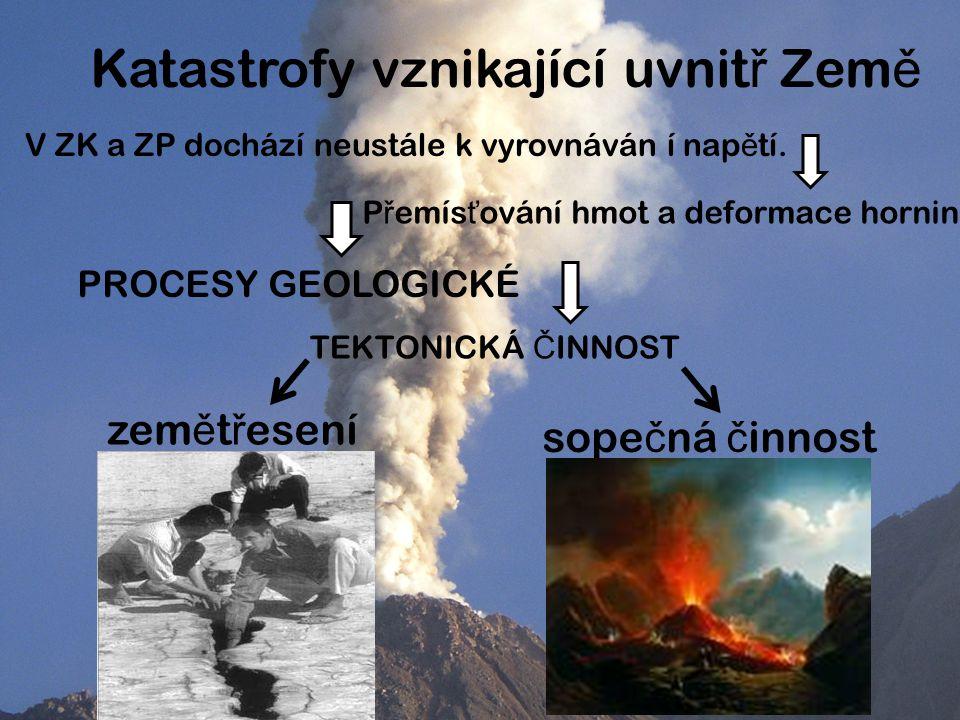 Katastrofy vznikající uvnit ř Zem ě V ZK a ZP dochází neustále k vyrovnáván í nap ě tí.