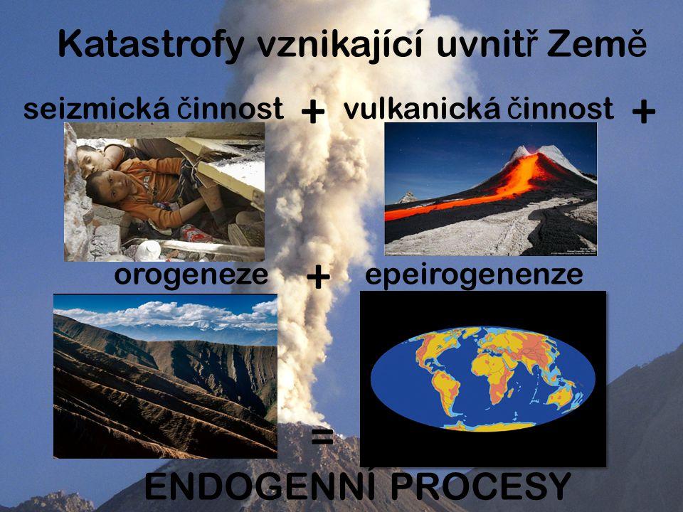 Katastrofy vznikající uvnit ř Zem ě seizmická č innost + orogeneze + epeirogenenze = ENDOGENNÍ PROCESY vulkanická č innost +
