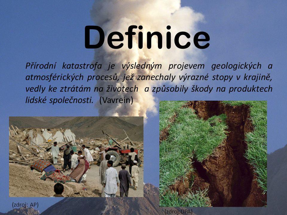 Definice Přírodní katastrofa je výsledným projevem geologických a atmosférických procesů, jež zanechaly výrazné stopy v krajině, vedly ke ztrátám na životech a způsobily škody na produktech lidské společnosti.