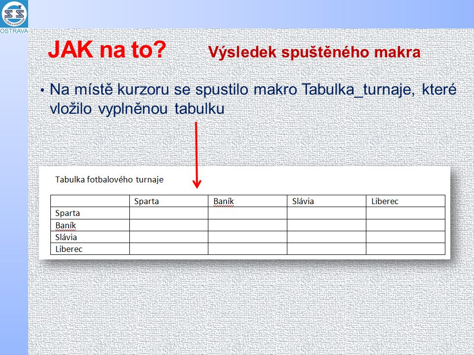 Na místě kurzoru se spustilo makro Tabulka_turnaje, které vložilo vyplněnou tabulku Výsledek spuštěného makra JAK na to?
