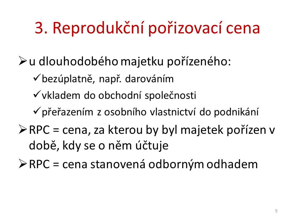 3. Reprodukční pořizovací cena  u dlouhodobého majetku pořízeného: bezúplatně, např.