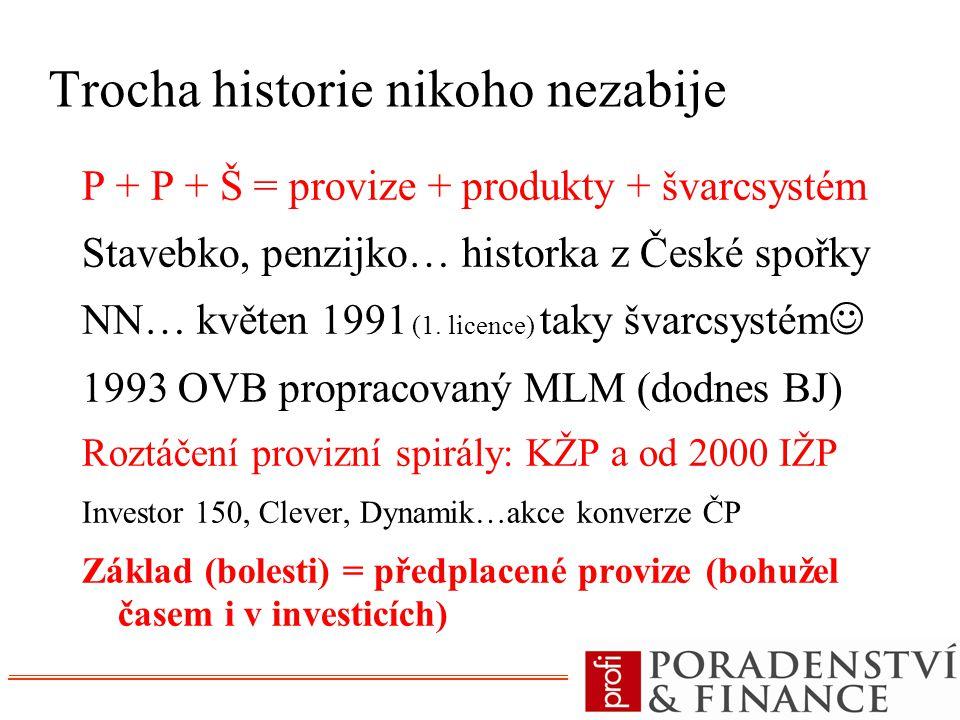 Trocha historie nikoho nezabije P + P + Š = provize + produkty + švarcsystém Stavebko, penzijko… historka z České spořky NN… květen 1991 (1. licence)