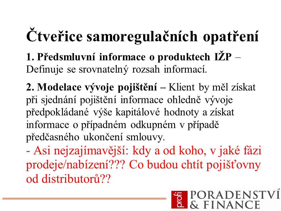 Čtveřice samoregulačních opatření 1. Předsmluvní informace o produktech IŽP – Definuje se srovnatelný rozsah informací. 2. Modelace vývoje pojištění –