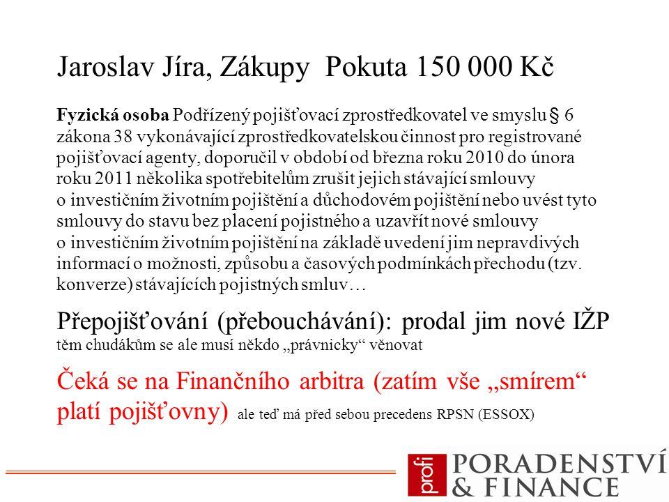 Jaroslav Jíra, Zákupy Pokuta 150 000 Kč Fyzická osoba Podřízený pojišťovací zprostředkovatel ve smyslu § 6 zákona 38 vykonávající zprostředkovatelskou