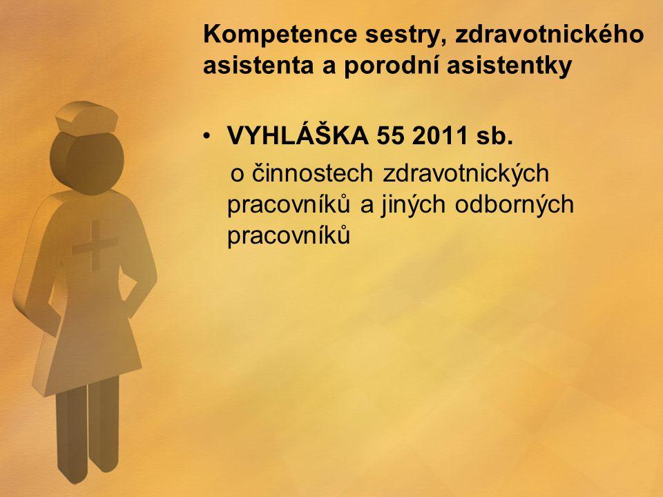 Kompetence sestry, zdravotnického asistenta a porodní asistentky VYHLÁŠKA 55 2011 sb. o činnostech zdravotnických pracovníků a jiných odborných pracov